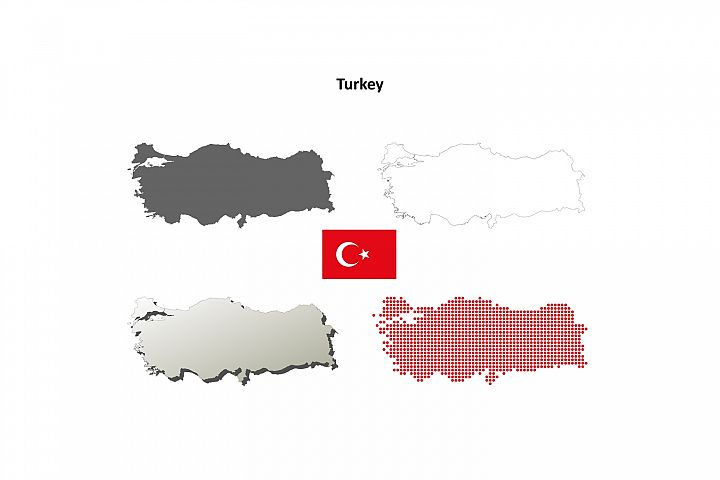 Turkey outline map set