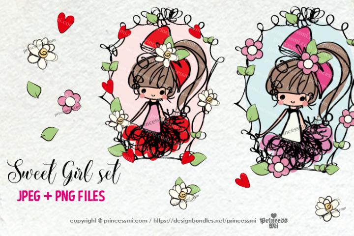 hand drawn sweet girl art set little girl long hair with bow