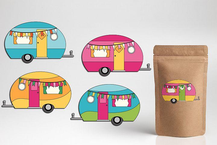 Camper caravan RV graphics illustrations