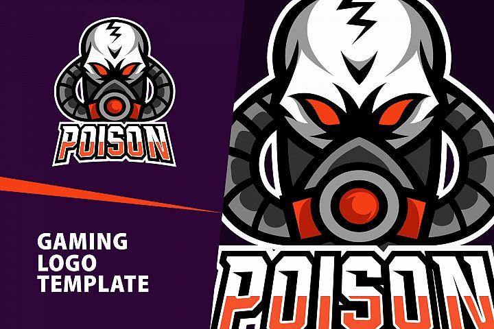 poison skull gaming logo template