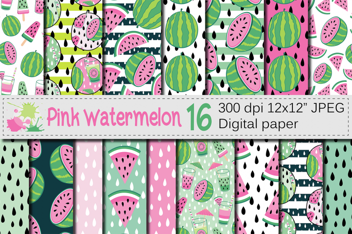 Pink watermelon digital papers / Summer seamless patterns
