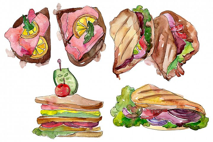 Sandwich Muffuletta watercolor png