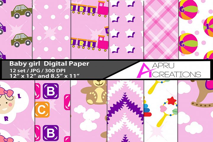 Baby girl digital papers / kids digital paper doodles textur