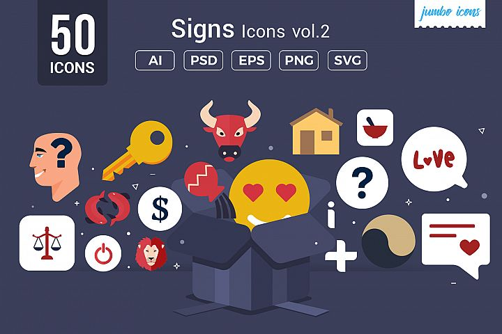Flat Vector Icons Signs Pack V2