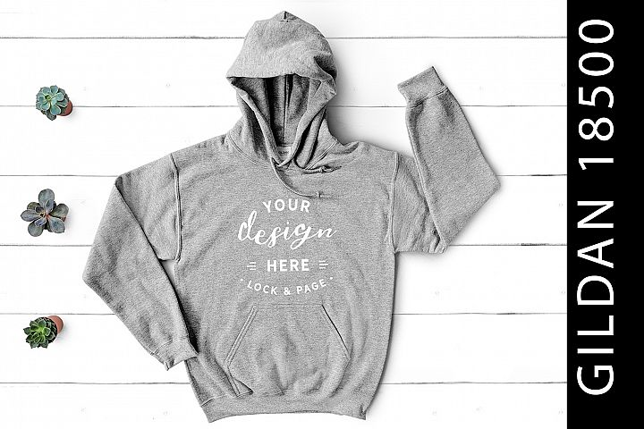 Sport Grey Gildan 18500 Hooded Top Mockup