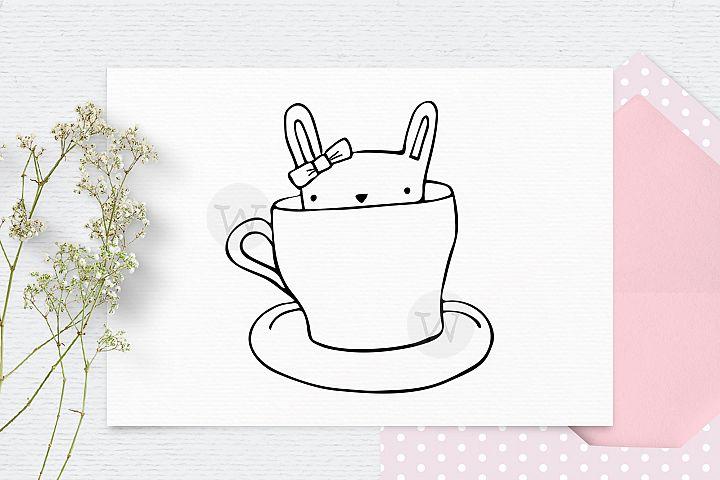 Digital stamp, bunny clipart, doodle clipart, digi stamp