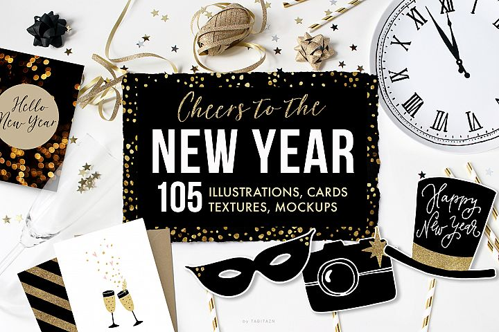 Cheers to the New Year graphic set