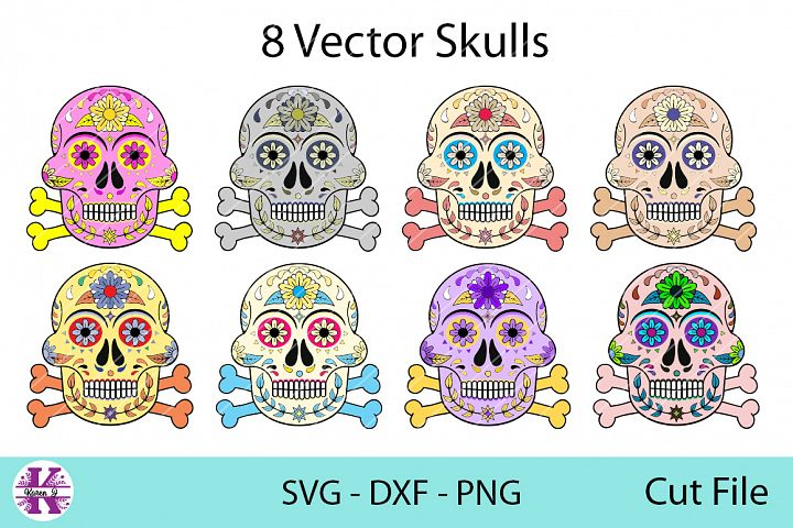 8 Vector Skulls - SVG DXF PNG - For Crafters