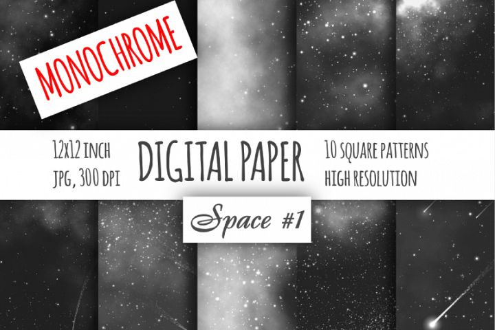 Monochrome night sky digital paper
