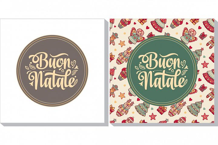 Buon Natale. Christmas template. Greeting card. Winter holiday in Italy. Congratulation on Italian. Vintage style.