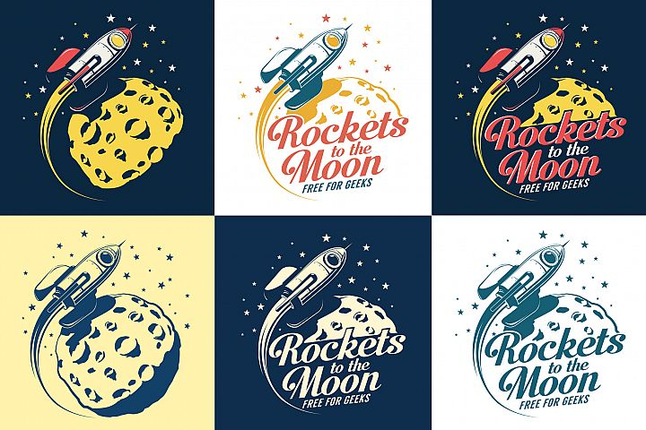 Rocket And Moon Retro Print