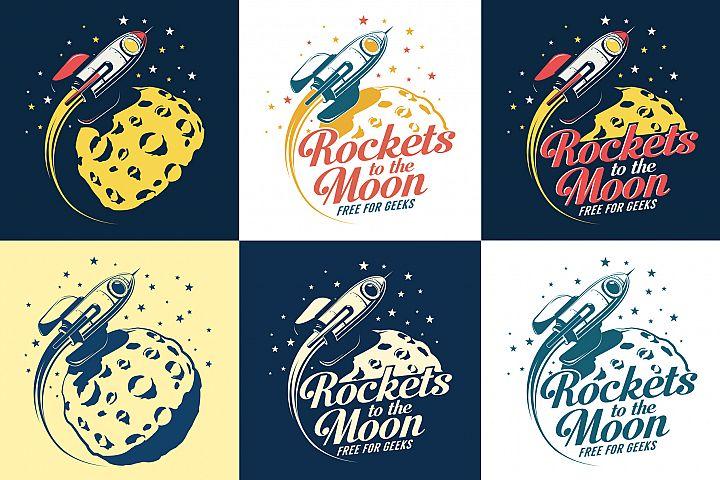 Rocket And Moon Retro Print