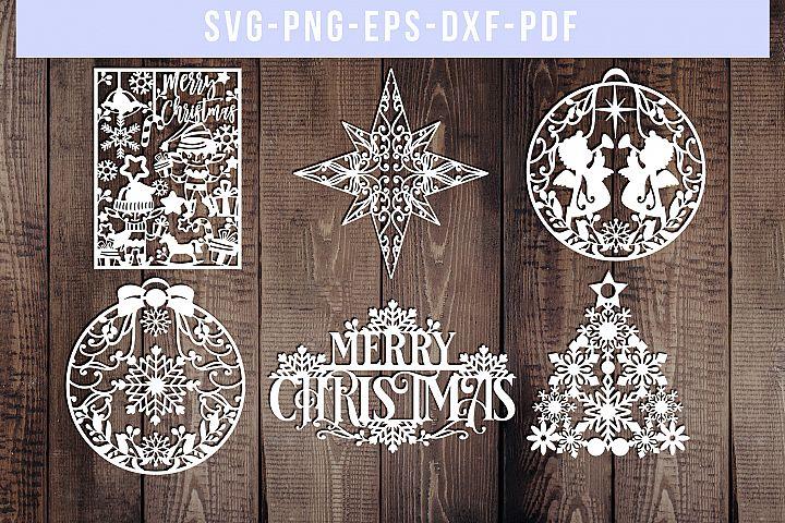 Bundle Of 6 Christmas Papercut Templates, Holiday SVG, PDF