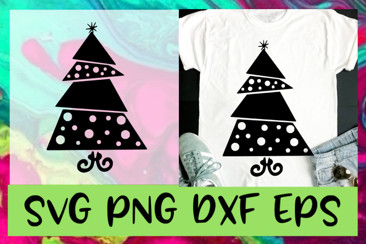 Modern Christmas Tree SVG PNG DXF & EPS Design & Cut File