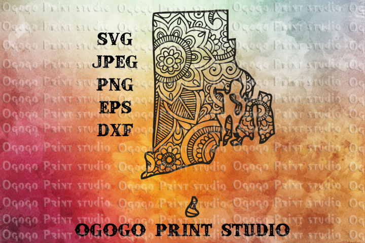Rhode Island SVG, Map svg, Zentangle SVG, Mandala svg