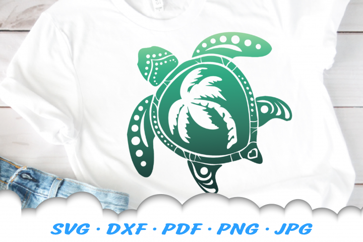 Sea Turtle Palm Beach SVG DXF Cut Files