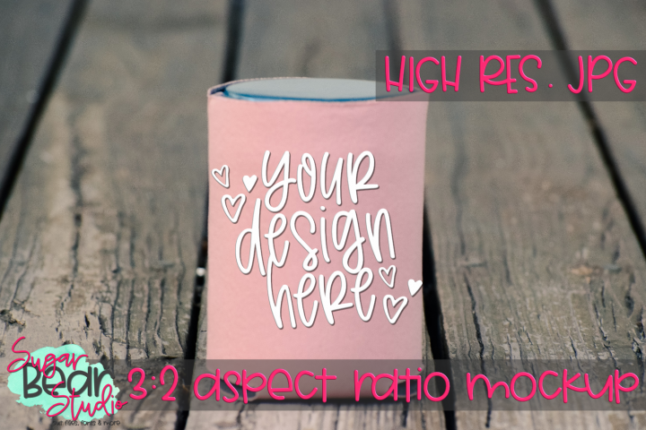 Pink Can Holder with Wood Mockup