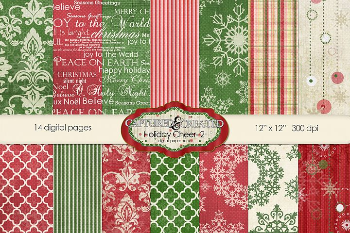 14 Holiday & Cheer-2 Digital Paper Pack