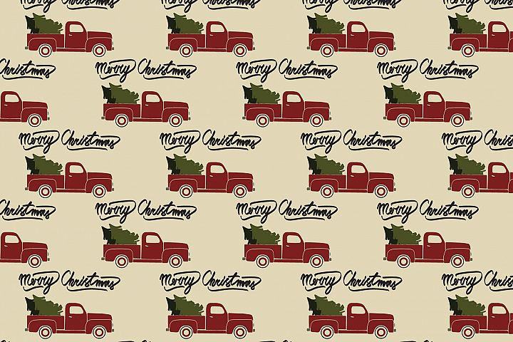 Red christmas vintage retro pickup truck. Seamless pattern.