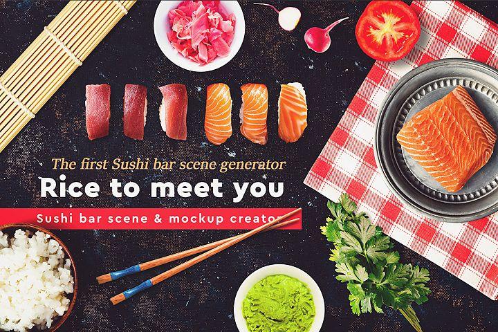 Sushi Bar Scene and Mock-up Generator