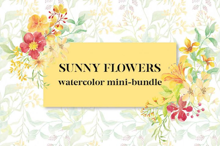 Sunny Flowers - watercolor mini-bundle