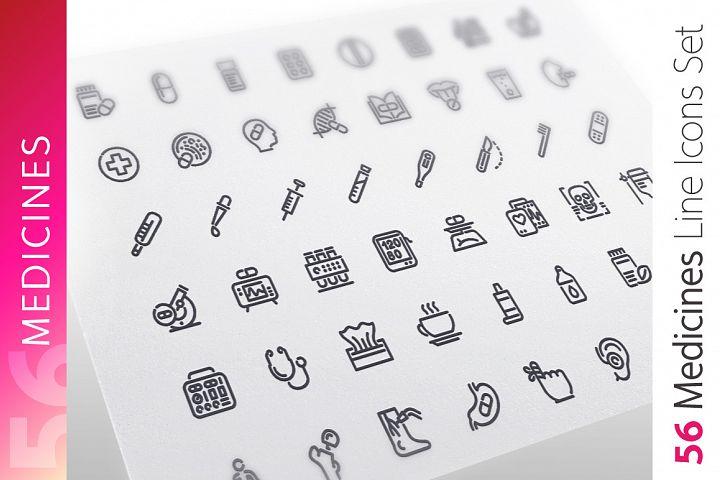 Medicines Line Icons Set
