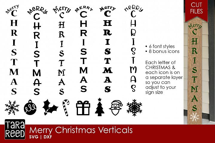 Merry Christmas Vertical Sign - Christmas SVG & DXF Files