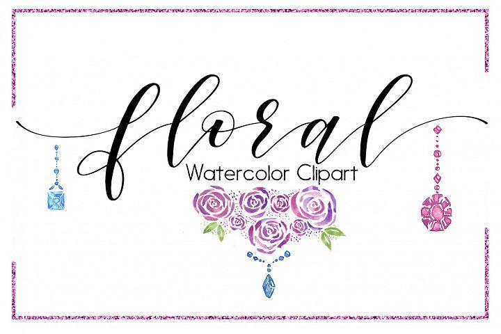 Flower Clipart-Digital clipart-Floral Clipart-Boho clipart- watercolor clipart-Flowers-Antlers-Jewel Clipart-Blue-Pink-Jewelry-Jewel Clipart