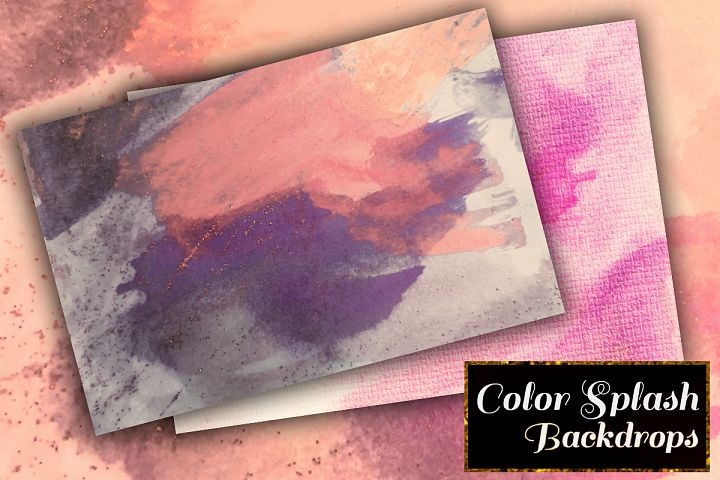 Colorful Splash Backgrounds. Watercolor textured paper pack example image 4