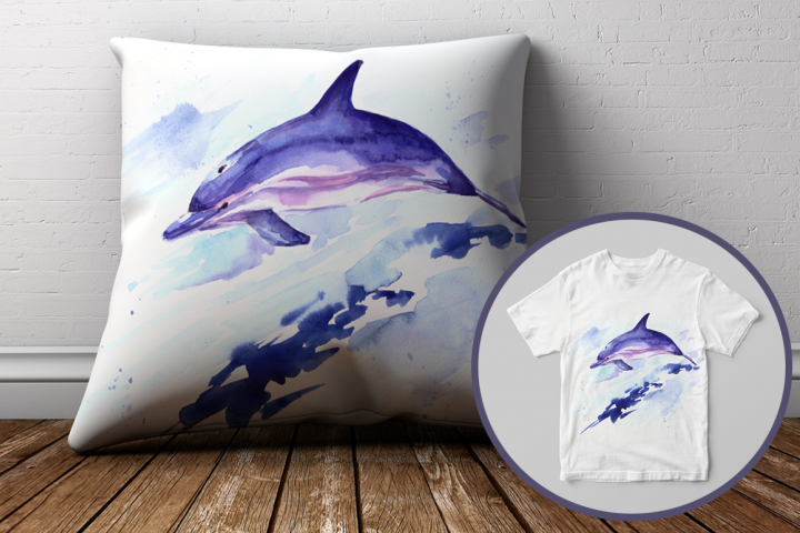 Watercolor Jumping Dolphin Print & Clip Art