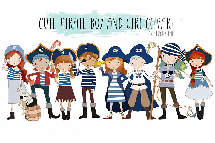 cute Pirate boy and girls clipart