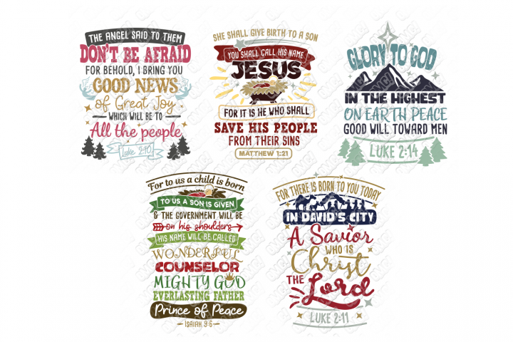 Christmas Bible Verse SVG Bundle in SVG, DXF, PNG, EPS, JPEG
