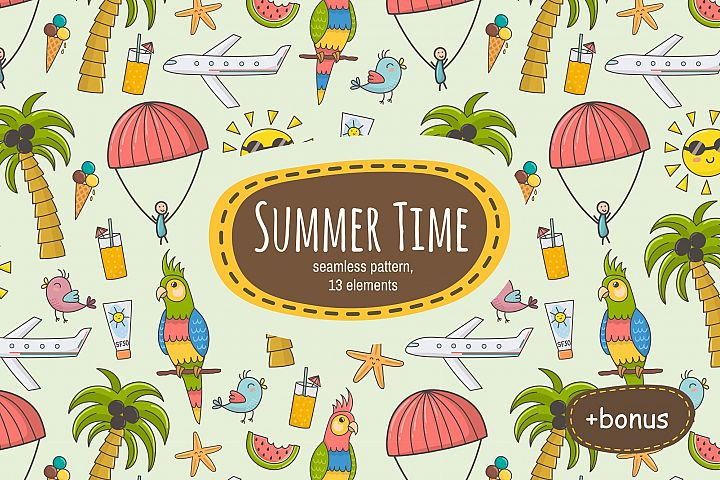 Summer Time: pattern & clipart - Free Design of The Week Font