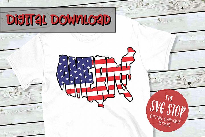 America Flag Word Art -SVG, PNG, DXF