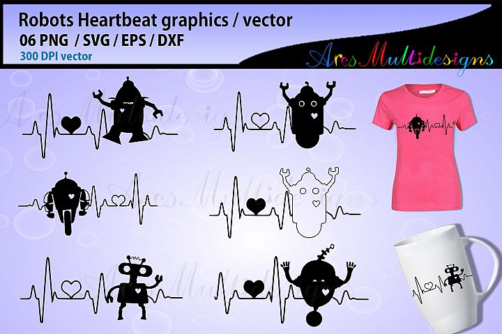 robot heartbeat graphics svg vector