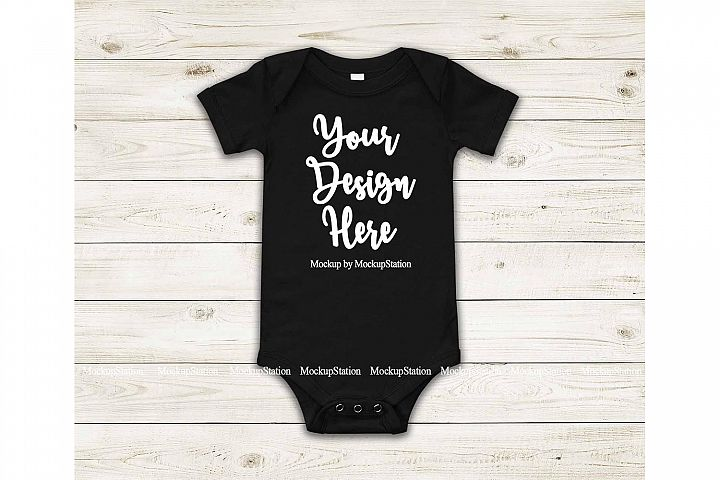 Baby Black Bodysuit Mockup, Blank Newborn Infant Toddler Tee