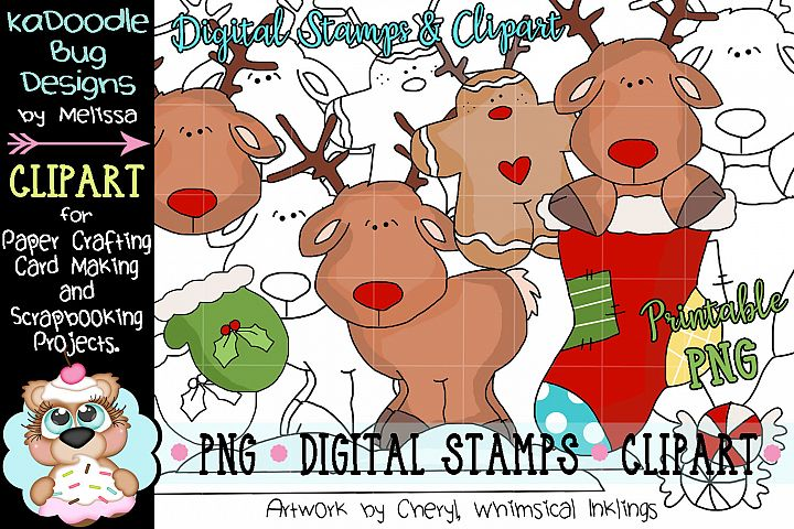 Silly Rudy Deer Digital Stamp and Clipart Illustrations PNG