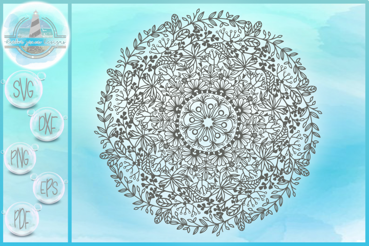 Hand Drawn Line Art Flower Floral Leaves Mandala Zentangle