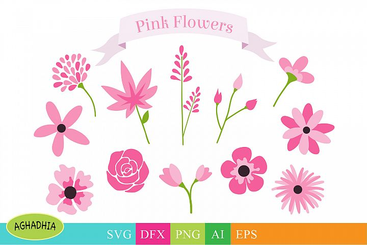 Flowers SVG, Flower Bundle, Floral Element SVG.