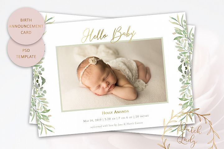 PSD Birth Announcement Card Template - Design #3