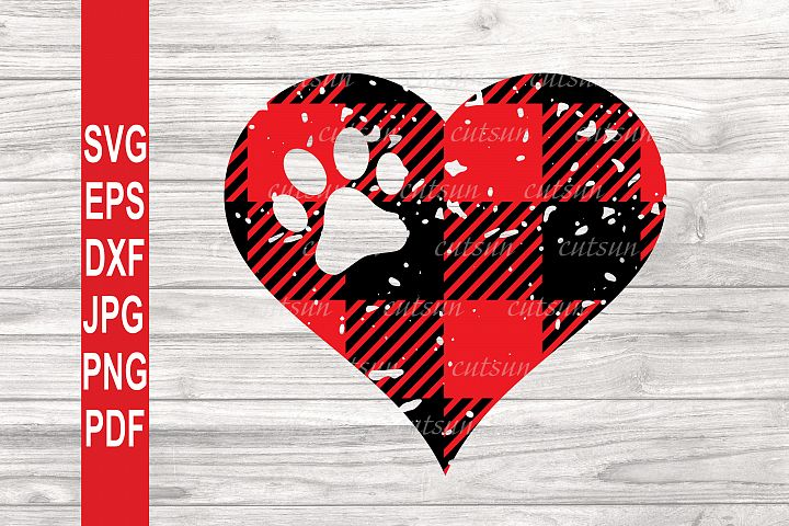 Buffalo plaid distressed heart with a Paw print SVG