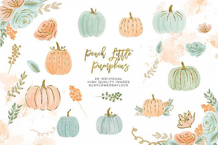 Pink Peach Orange and Gold Confetti Little Pumpkin clip art,