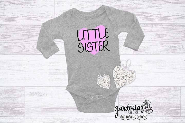 Little Sister with Heart SVG | Pregnancy Announcement Clip A