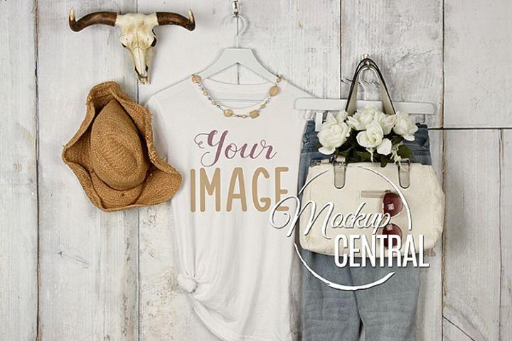 Womens Blank White Boho Chic Rustic T-Shirt JPG Mockup
