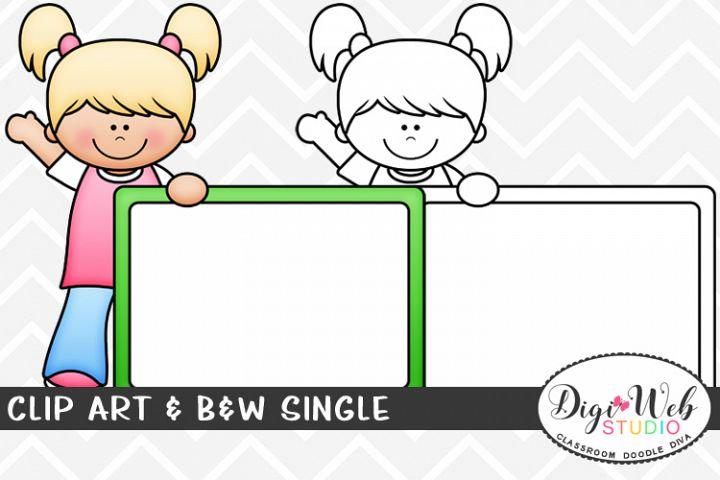 Clip Art & B&W Single - Girl w/ Whiteboard - Dry Erase Board