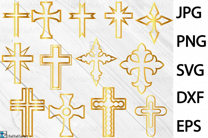 Gold Monogram Crosses - Clip art / Cutting Files 246c