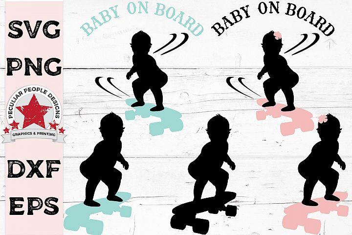 Baby On Board Skateboarder Bundle Car Decal Gender Reveal
