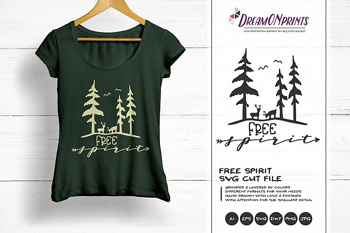 Free Spirit | Adventure SVG | Deer Forest Illustration
