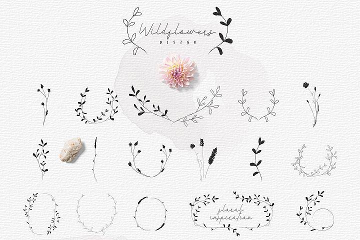 Hand-drawn Botanic elements, Wildflowers Rustic Wreaths.