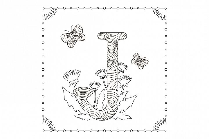 Letter j. Flowers. Coloring page.